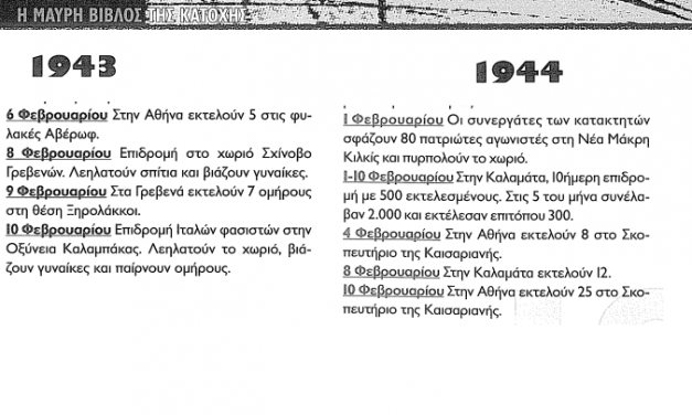 Μαύρη Βίβλος της κατοχής : Τα εγκλήματα των ναζί το 10ημερο του Φεβρουαρίου